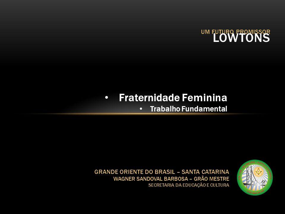 UM FUTURO PROMISSOR LOWTONS GRANDE ORIENTE DO BRASIL – SANTA CATARINA WAGNER SANDOVAL BARBOSA – GRÃO MESTRE SECRETARIA DA EDUCAÇÃO E CULTURA Fraternid