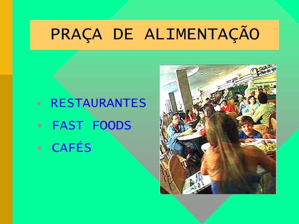 PRAÇA DE ALIMENTAÇÃO RESTAURANTES FAST FOODS CAFÉS