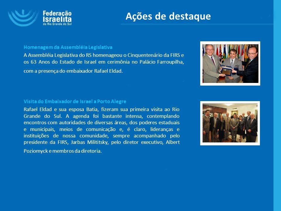Ações de destaque Homenagem da Assembléia Legislativa A Assembléia Legislativa do RS homenageou o Cinquentenário da FIRS e os 63 Anos do Estado de Isr