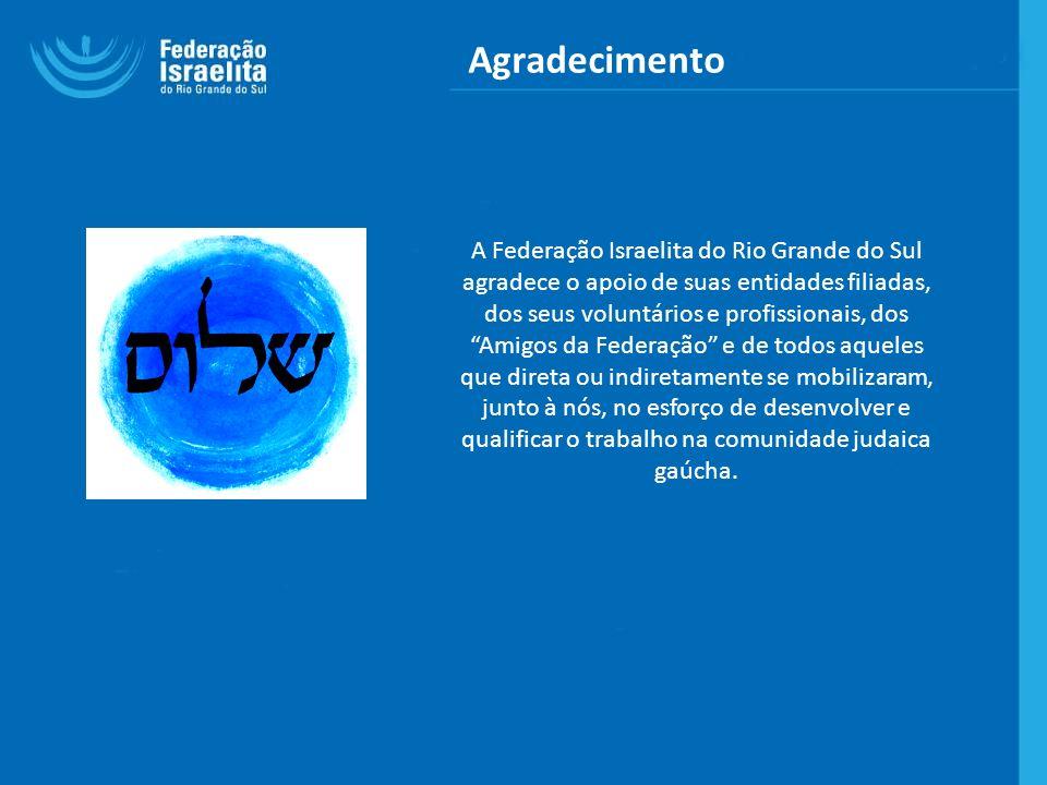 Agradecimento A Federação Israelita do Rio Grande do Sul agradece o apoio de suas entidades filiadas, dos seus voluntários e profissionais, dos Amigos