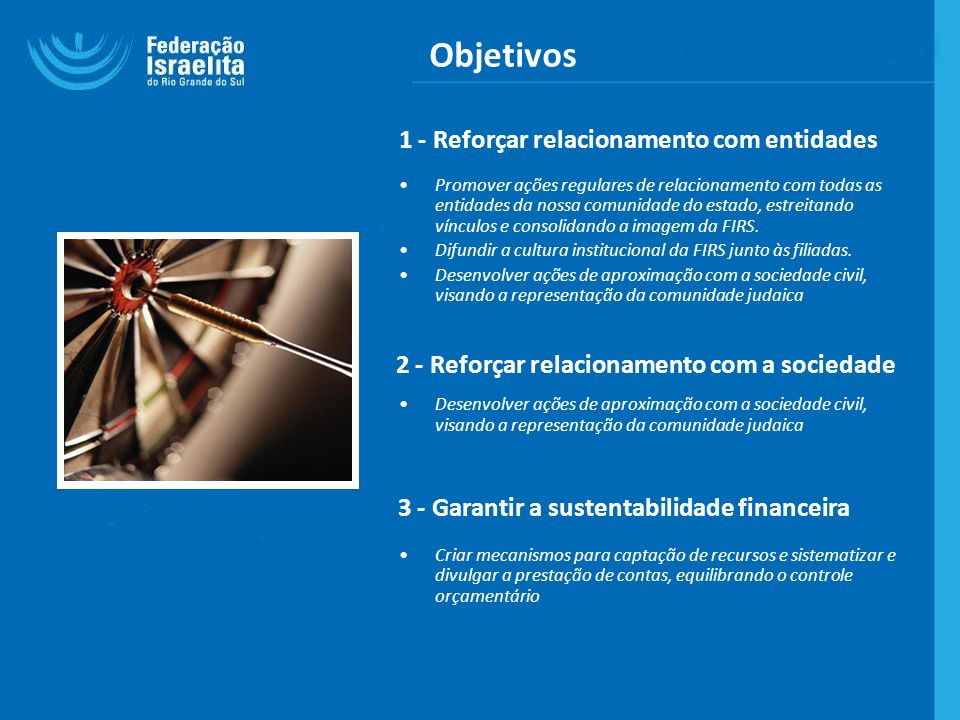Objetivos 1 - Reforçar relacionamento com entidades Promover ações regulares de relacionamento com todas as entidades da nossa comunidade do estado, e