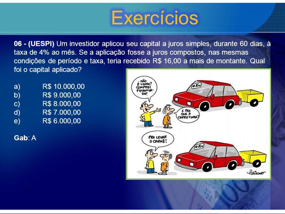 06 - (UESPI) Um investidor aplicou seu capital a juros simples, durante 60 dias, à taxa de 4% ao mês. Se a aplicação fosse a juros compostos, nas mesm