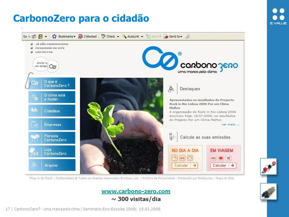 17 | CarbonoZero ® - uma marca pelo clima | Seminário Eco-Escolas 2008| 15.01.2008 CarbonoZero para o cidadão www.carbono-zero.com ~ 300 visitas/dia
