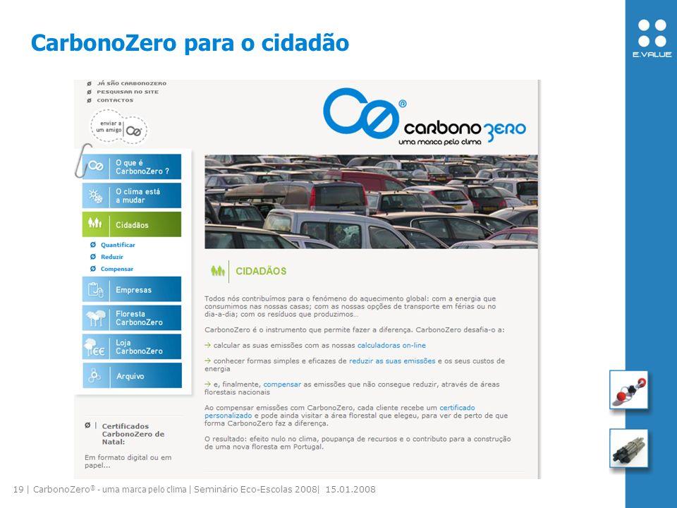 19 | CarbonoZero ® - uma marca pelo clima | Seminário Eco-Escolas 2008| 15.01.2008 CarbonoZero para o cidadão
