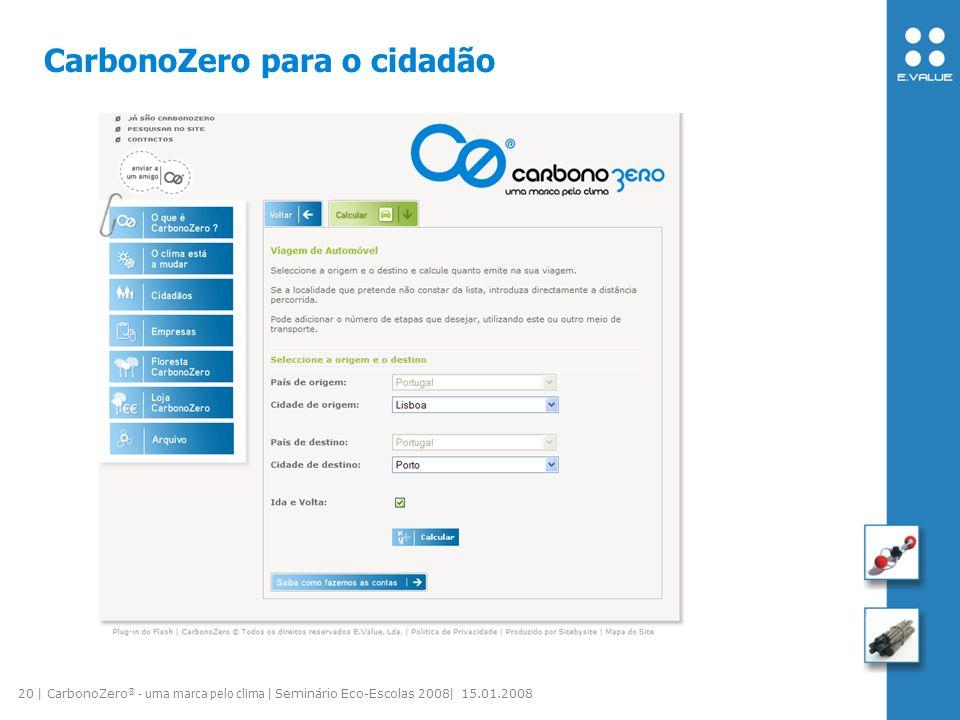 20 | CarbonoZero ® - uma marca pelo clima | Seminário Eco-Escolas 2008| 15.01.2008 CarbonoZero para o cidadão