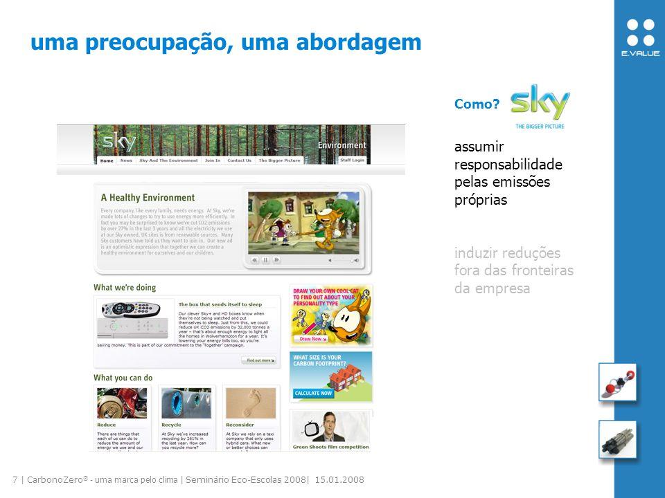 8 | CarbonoZero ® - uma marca pelo clima | Seminário Eco-Escolas 2008| 15.01.2008 uma preocupação, uma abordagem assumir responsabilidade pelas emissões próprias induzir reduções fora das fronteiras da empresa Como.