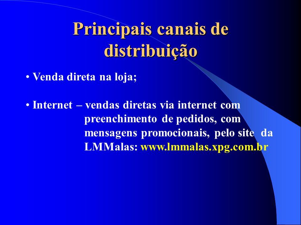 Principais canais de distribuição Venda direta na loja; Internet – vendas diretas via internet com preenchimento de pedidos, com mensagens promocionai
