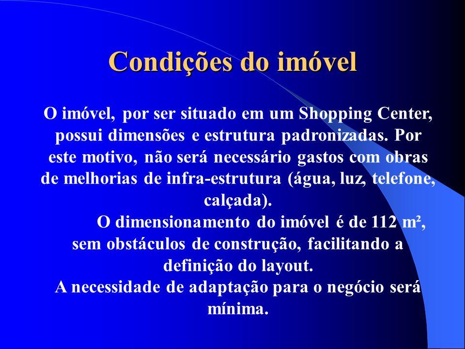 Condições do imóvel O imóvel, por ser situado em um Shopping Center, possui dimensões e estrutura padronizadas. Por este motivo, não será necessário g