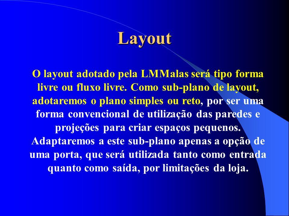 Layout O layout adotado pela LMMalas será tipo forma livre ou fluxo livre. Como sub-plano de layout, adotaremos o plano simples ou reto, por ser uma f