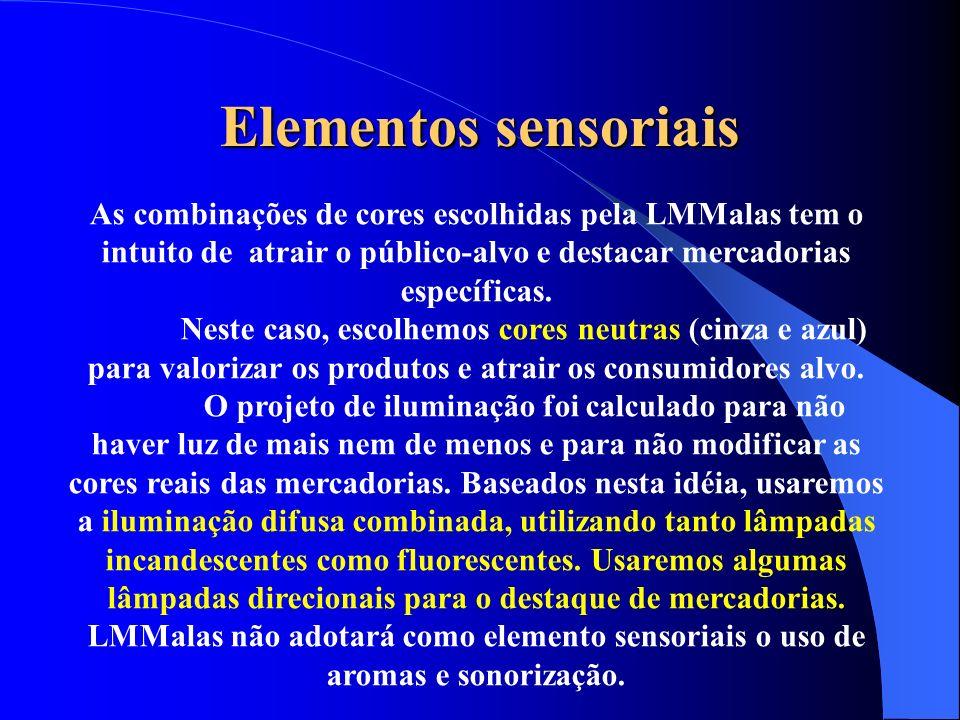 Elementos sensoriais As combinações de cores escolhidas pela LMMalas tem o intuito de atrair o público-alvo e destacar mercadorias específicas. Neste