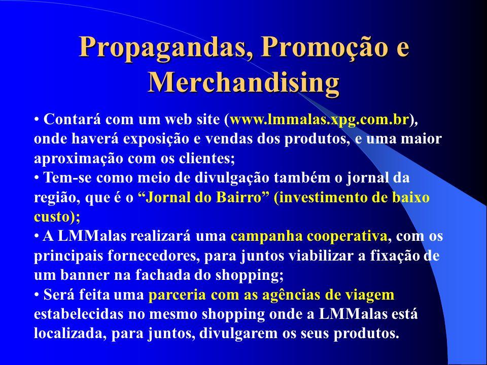 Propagandas, Promoção e Merchandising Contará com um web site (www.lmmalas.xpg.com.br), onde haverá exposição e vendas dos produtos, e uma maior aprox