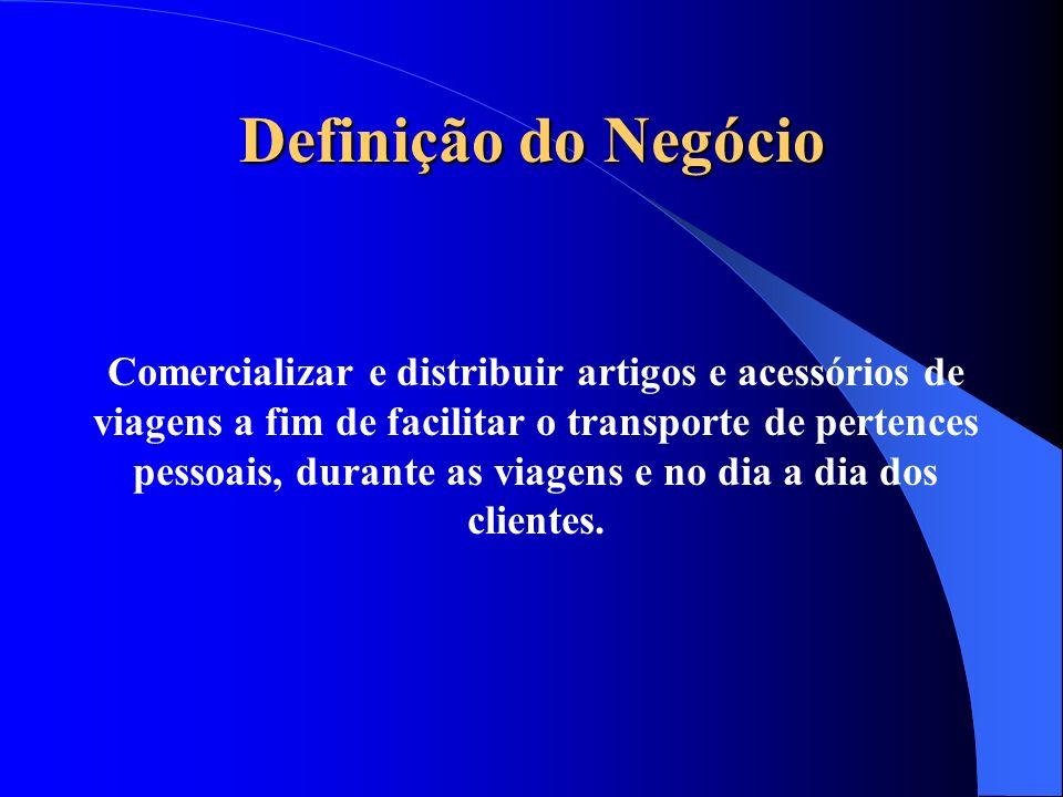 Definição do Negócio Comercializar e distribuir artigos e acessórios de viagens a fim de facilitar o transporte de pertences pessoais, durante as viag