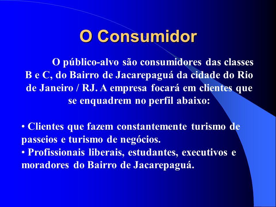 O Consumidor O público-alvo são consumidores das classes B e C, do Bairro de Jacarepaguá da cidade do Rio de Janeiro / RJ. A empresa focará em cliente