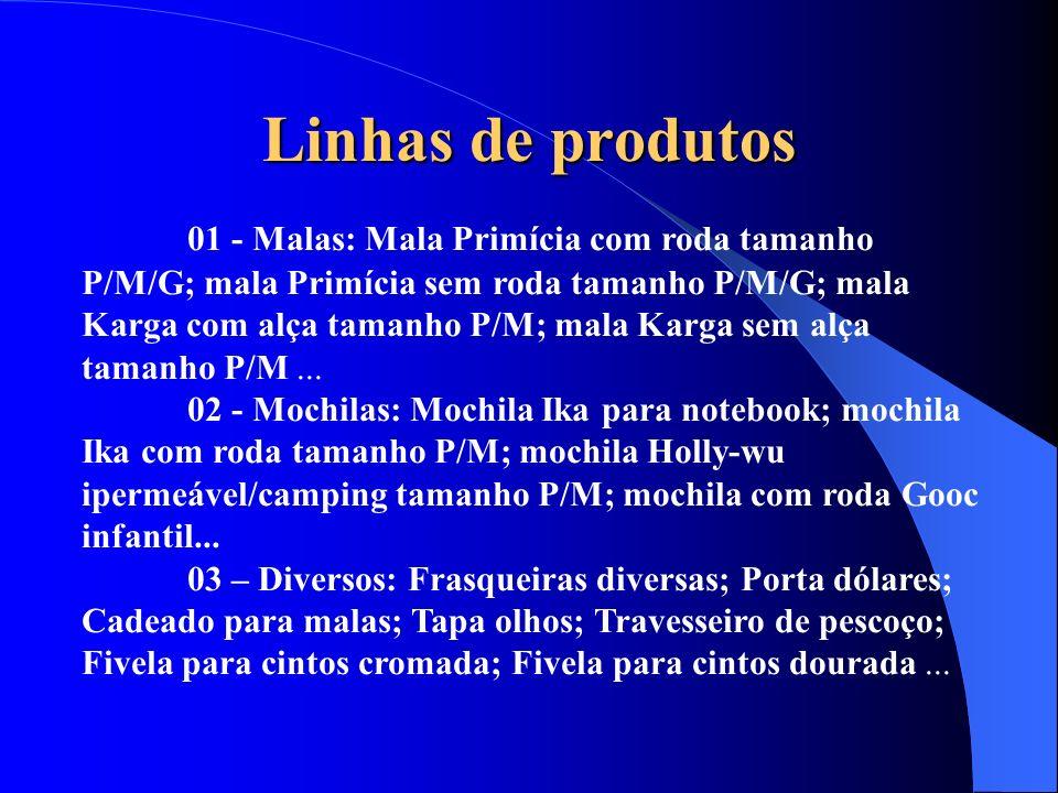 Linhas de produtos 01 - Malas: Mala Primícia com roda tamanho P/M/G; mala Primícia sem roda tamanho P/M/G; mala Karga com alça tamanho P/M; mala Karga