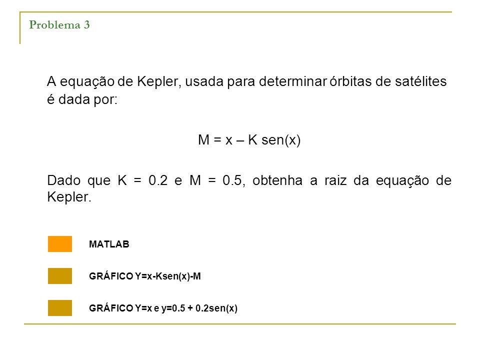 Problema 3 A equação de Kepler, usada para determinar órbitas de satélites é dada por: M = x – K sen(x) Dado que K = 0.2 e M = 0.5, obtenha a raiz da