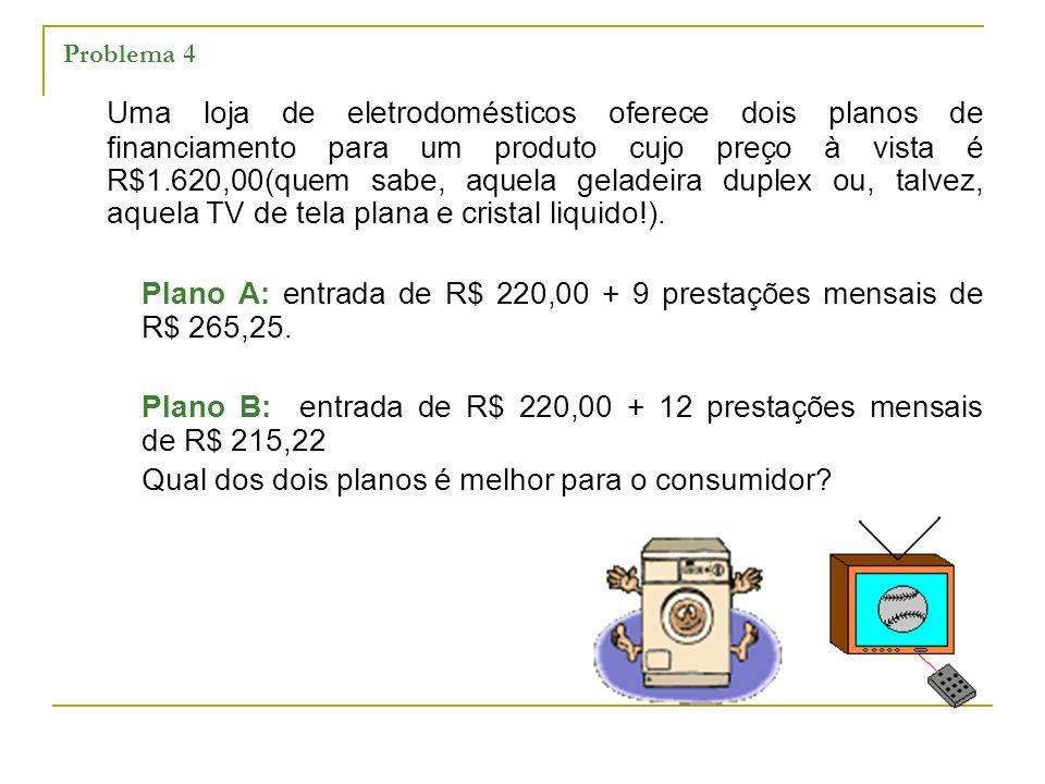 Problema 4 Uma loja de eletrodomésticos oferece dois planos de financiamento para um produto cujo preço à vista é R$1.620,00(quem sabe, aquela geladei