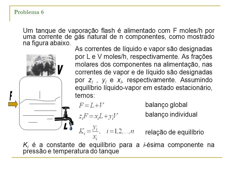 Problema 6 Um tanque de vaporação flash é alimentado com F moles/h por uma corrente de gás natural de n componentes, como mostrado na figura abaixo. K