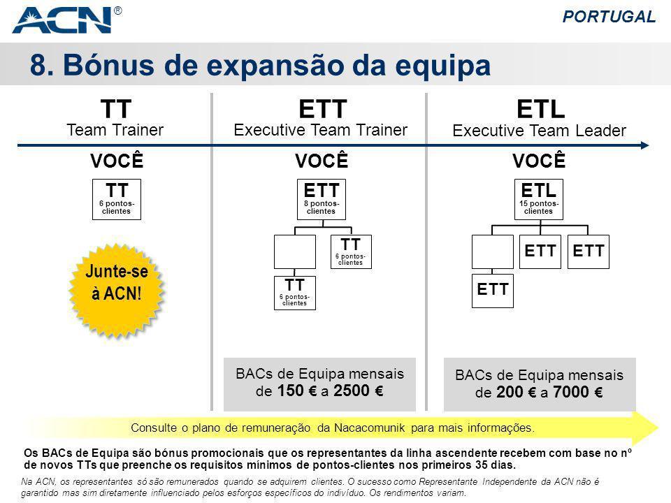 8. Bónus de expansão da equipa PORTUGAL Na ACN, os representantes só são remunerados quando se adquirem clientes. O sucesso como Representante Indepen