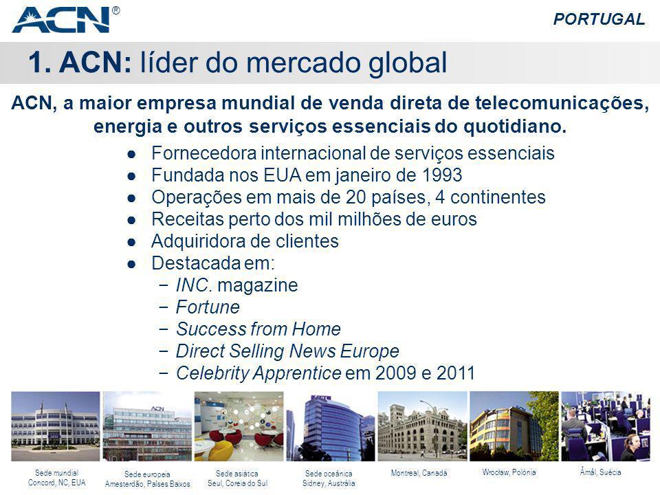 1. ACN: líder do mercado global PORTUGAL Fornecedora internacional de serviços essenciais Fundada nos EUA em janeiro de 1993 Operações em mais de 20 p