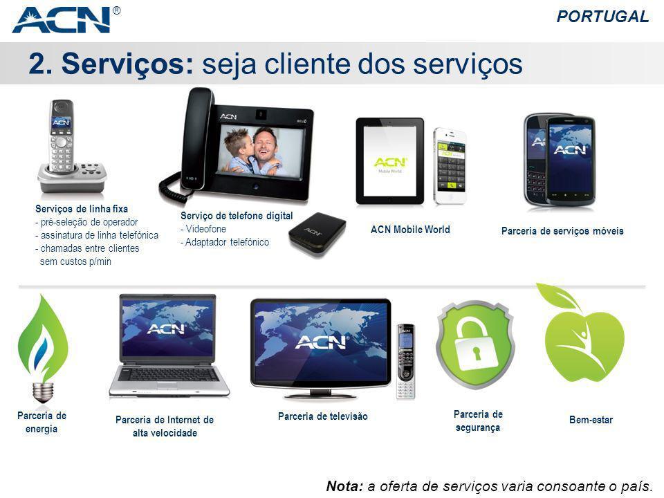 2. Serviços: seja cliente dos serviços PORTUGAL ® Nota: a oferta de serviços varia consoante o país. Bem-estar Serviço de telefone digital - Videofone