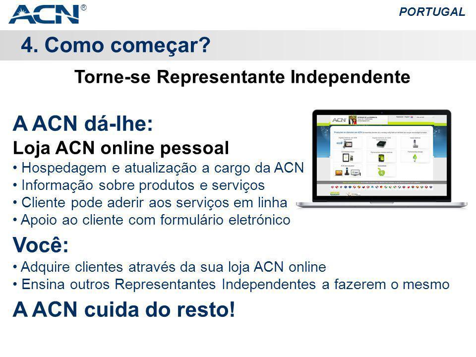4. Como começar? PORTUGAL A ACN dá-lhe: Loja ACN online pessoal Hospedagem e atualização a cargo da ACN Informação sobre produtos e serviços Cliente p