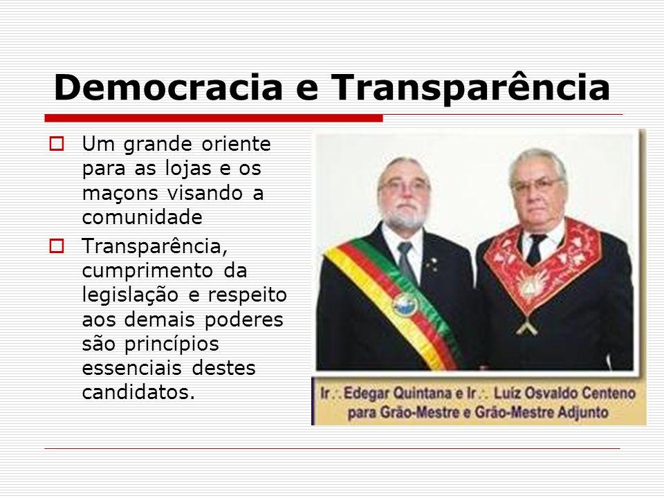 Democracia e Transparência Um grande oriente para as lojas e os maçons visando a comunidade Transparência, cumprimento da legislação e respeito aos de