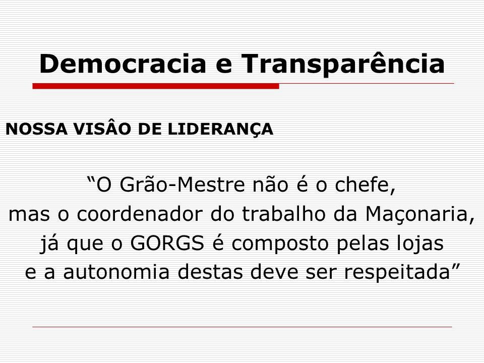 Democracia e Transparência NOSSA VISÂO DE LIDERANÇA O Grão-Mestre não é o chefe, mas o coordenador do trabalho da Maçonaria, já que o GORGS é composto