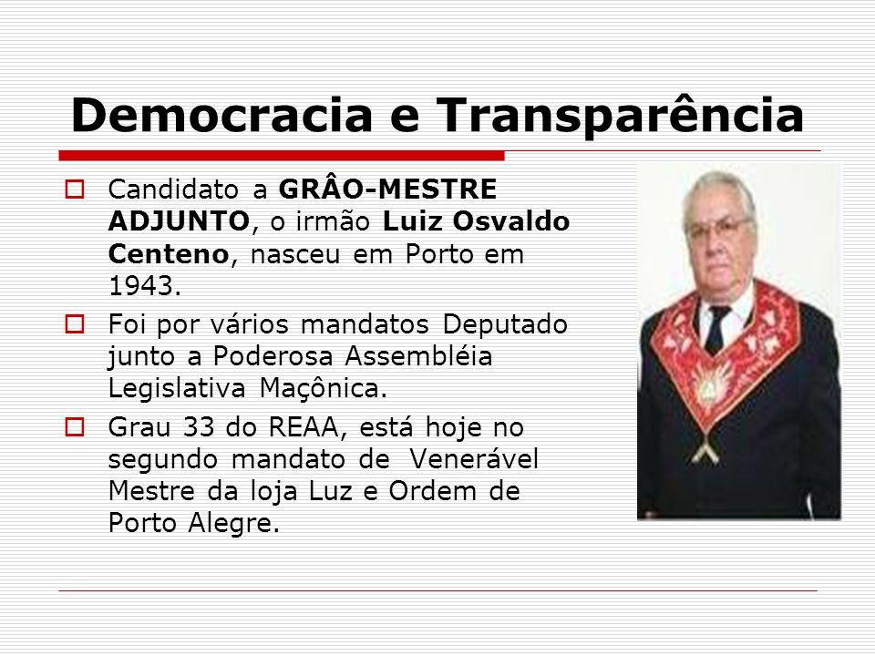 Democracia e Transparência Candidato a GRÂO-MESTRE ADJUNTO, o irmão Luiz Osvaldo Centeno, nasceu em Porto em 1943. Foi por vários mandatos Deputado ju