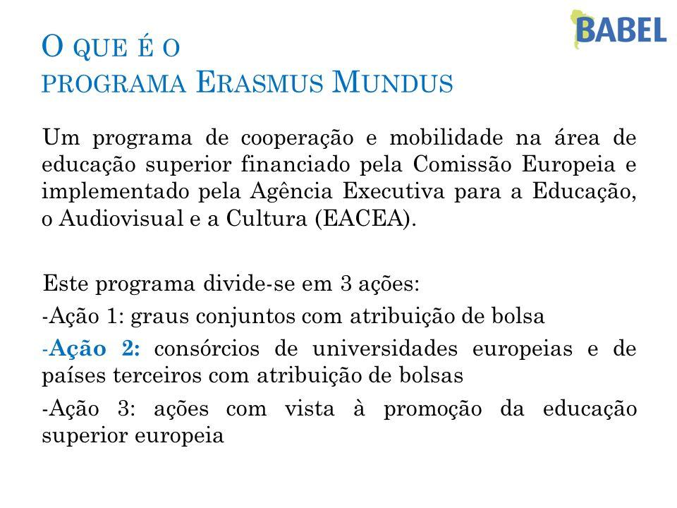 O QUE É O PROGRAMA E RASMUS M UNDUS Um programa de cooperação e mobilidade na área de educação superior financiado pela Comissão Europeia e implementa