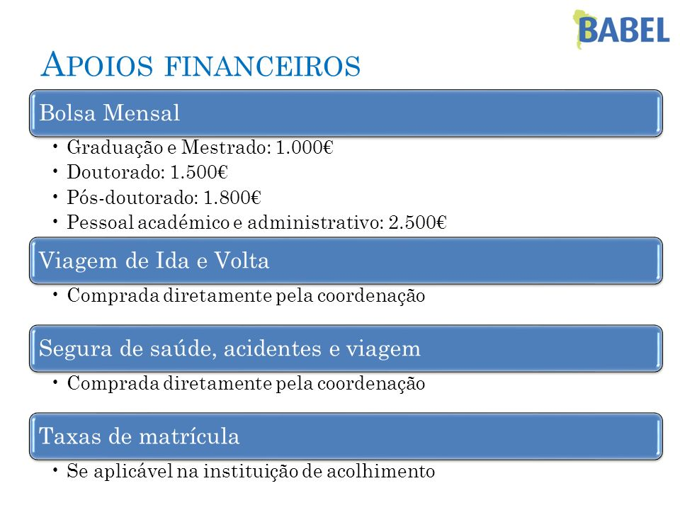 A POIOS FINANCEIROS Bolsa Mensal Graduação e Mestrado: 1.000 Doutorado: 1.500 Pós-doutorado: 1.800 Pessoal académico e administrativo: 2.500 Viagem de