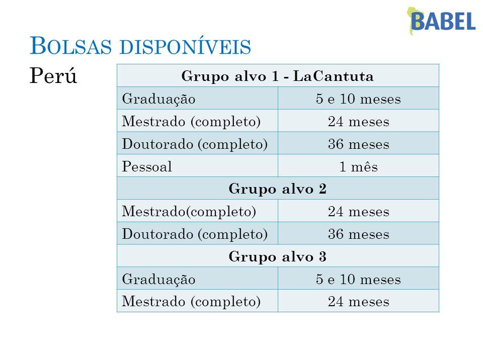 B OLSAS DISPONÍVEIS Perú Grupo alvo 1 - LaCantuta Graduação5 e 10 meses Mestrado (completo)24 meses Doutorado (completo)36 meses Pessoal1 mês Grupo al