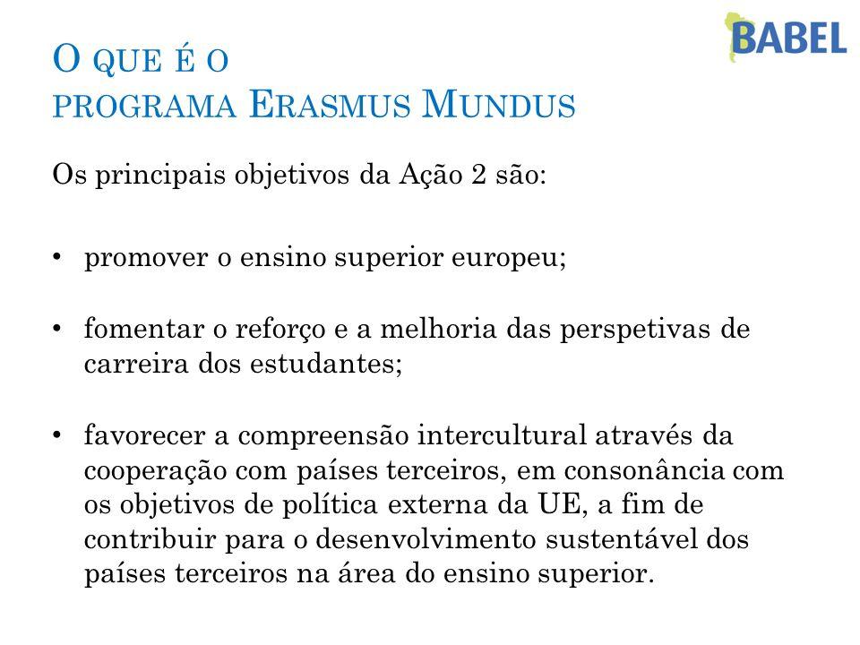 O QUE É O PROGRAMA E RASMUS M UNDUS Os principais objetivos da Ação 2 são: promover o ensino superior europeu; fomentar o reforço e a melhoria das per