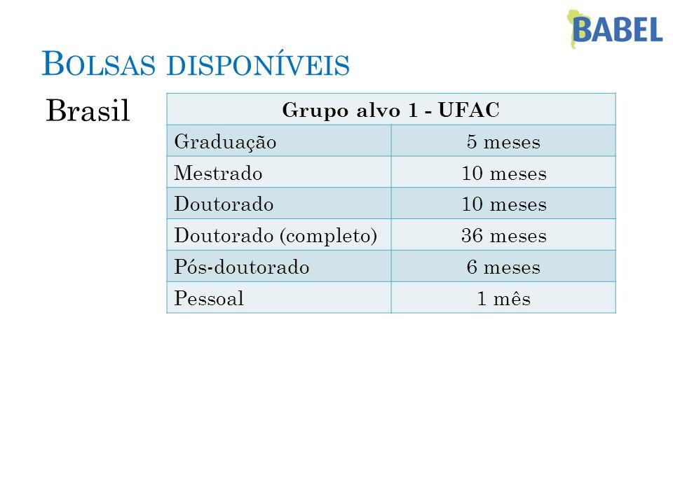 B OLSAS DISPONÍVEIS Brasil Grupo alvo 1 - UFAC Graduação5 meses Mestrado10 meses Doutorado10 meses Doutorado (completo)36 meses Pós-doutorado6 meses P
