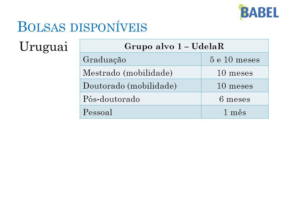 B OLSAS DISPONÍVEIS Uruguai Grupo alvo 1 – UdelaR Graduação5 e 10 meses Mestrado (mobilidade)10 meses Doutorado (mobilidade)10 meses Pós-doutorado6 me