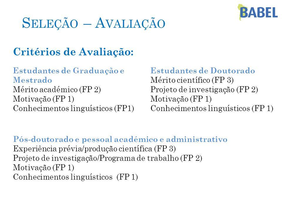 S ELEÇÃO – A VALIAÇÃO Critérios de Avaliação: Estudantes de Graduação e Mestrado Mérito académico (FP 2) Motivação (FP 1) Conhecimentos linguísticos (