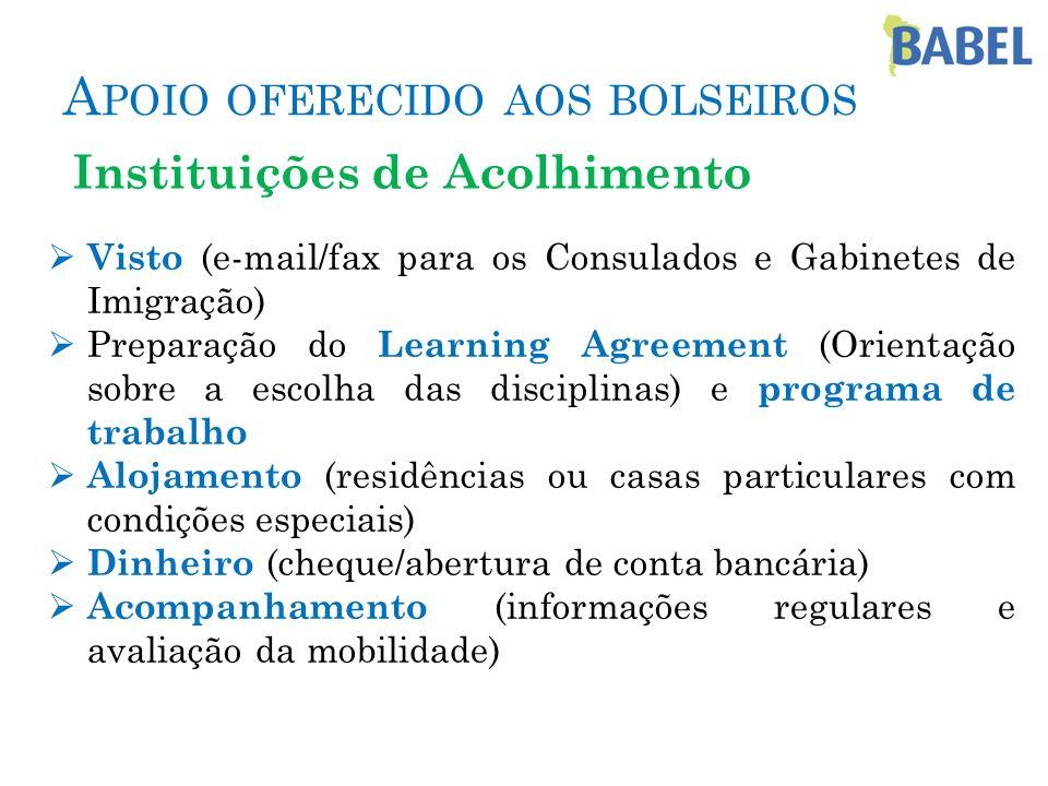Visto (e-mail/fax para os Consulados e Gabinetes de Imigração) Preparação do Learning Agreement (Orientação sobre a escolha das disciplinas) e program