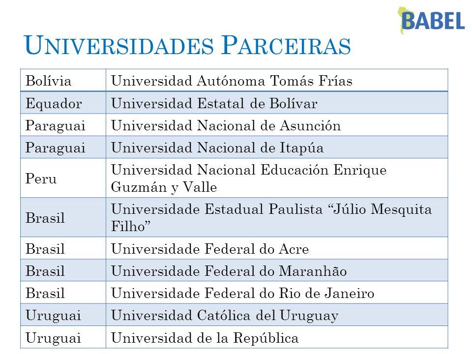 U NIVERSIDADES P ARCEIRAS BolíviaUniversidad Autónoma Tomás Frías EquadorUniversidad Estatal de Bolívar ParaguaiUniversidad Nacional de Asunción Parag