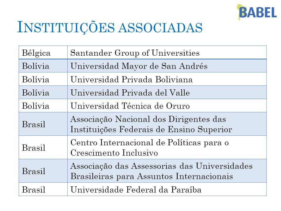 I NSTITUIÇÕES ASSOCIADAS BélgicaSantander Group of Universities BolíviaUniversidad Mayor de San Andrés BolíviaUniversidad Privada Boliviana BolíviaUni