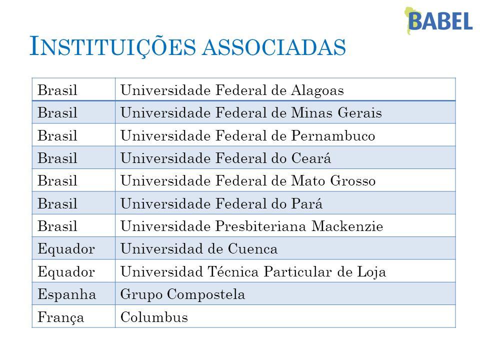I NSTITUIÇÕES ASSOCIADAS BrasilUniversidade Federal de Alagoas BrasilUniversidade Federal de Minas Gerais BrasilUniversidade Federal de Pernambuco Bra