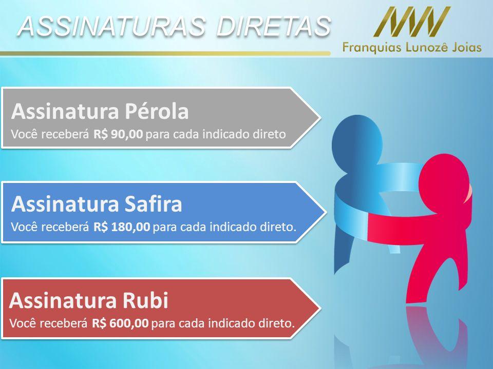 ASSINATURAS DIRETAS Assinatura Pérola Você receberá R$ 90,00 para cada indicado direto Assinatura Safira Você receberá R$ 180,00 para cada indicado direto.