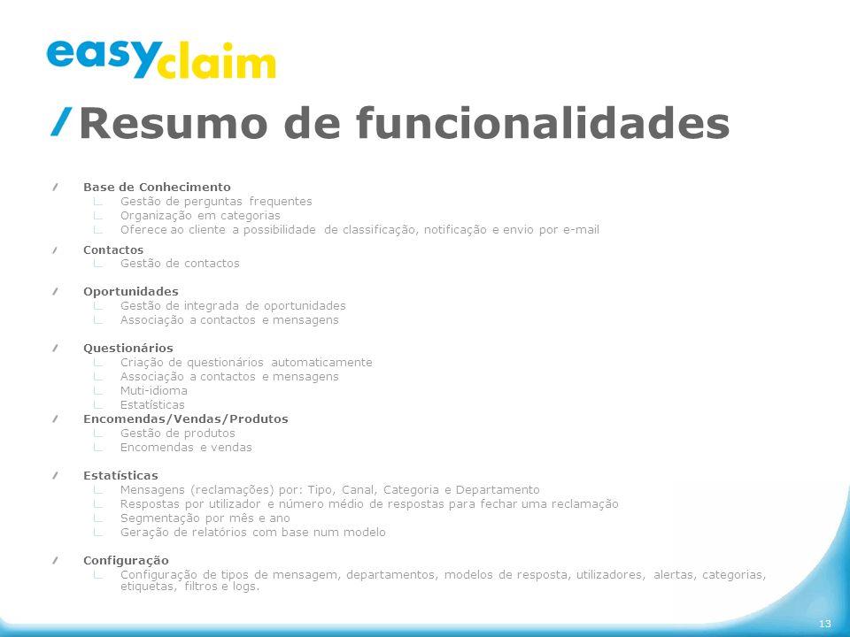 13 Resumo de funcionalidades Base de Conhecimento Gestão de perguntas frequentes Organização em categorias Oferece ao cliente a possibilidade de class