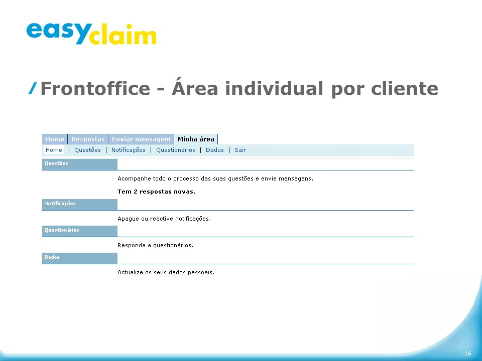 16 Frontoffice - Área individual por cliente