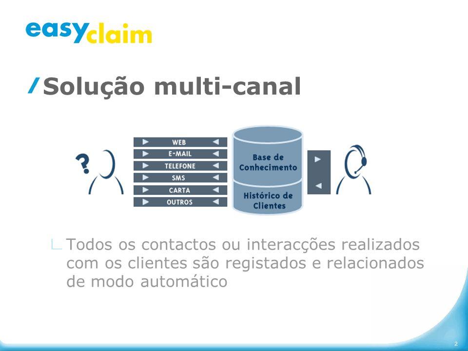 2 Solução multi-canal Todos os contactos ou interacções realizados com os clientes são registados e relacionados de modo automático