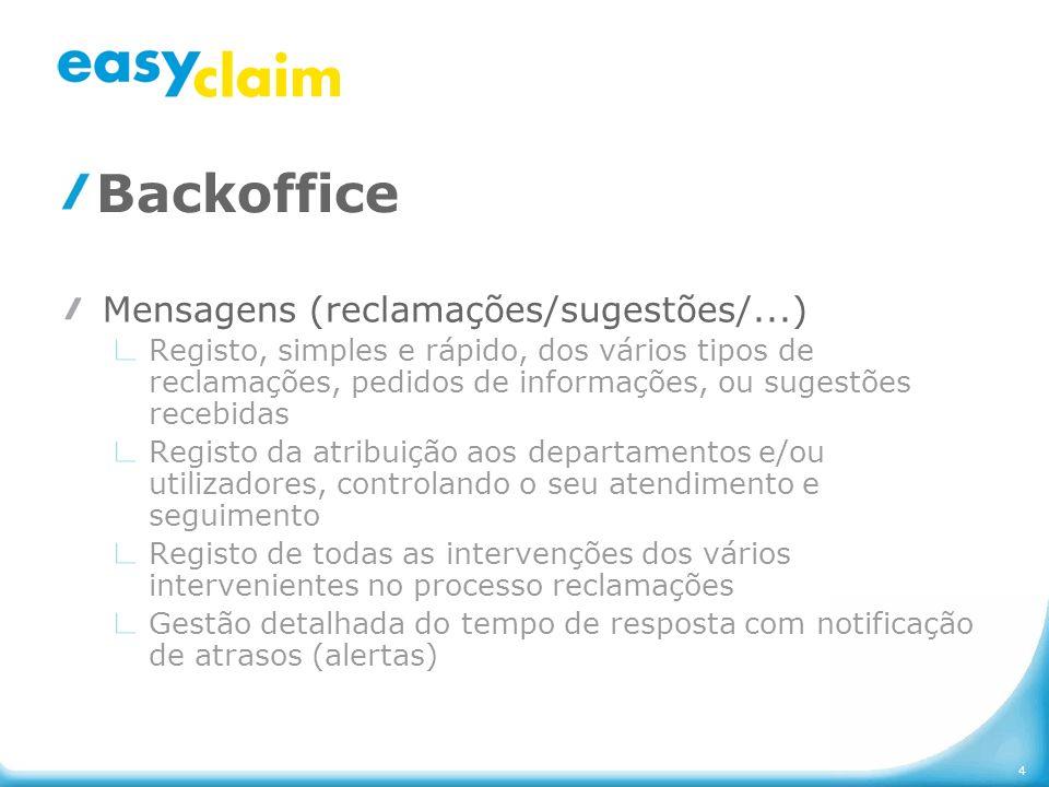 4 Backoffice Mensagens (reclamações/sugestões/...) Registo, simples e rápido, dos vários tipos de reclamações, pedidos de informações, ou sugestões re