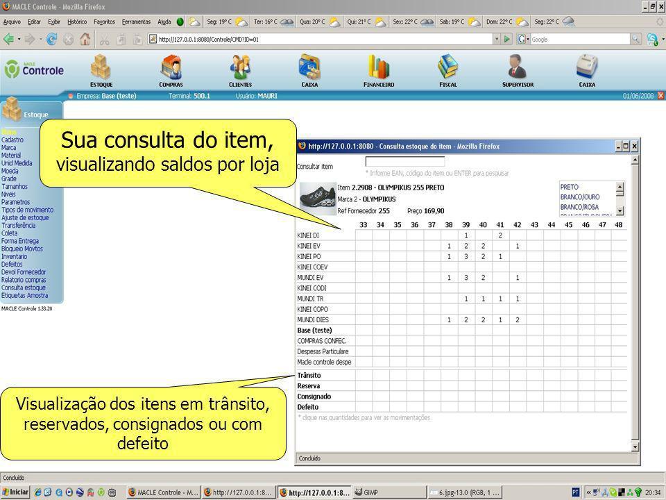 Sua consulta do item, visualizando saldos por loja Visualização dos itens em trânsito, reservados, consignados ou com defeito