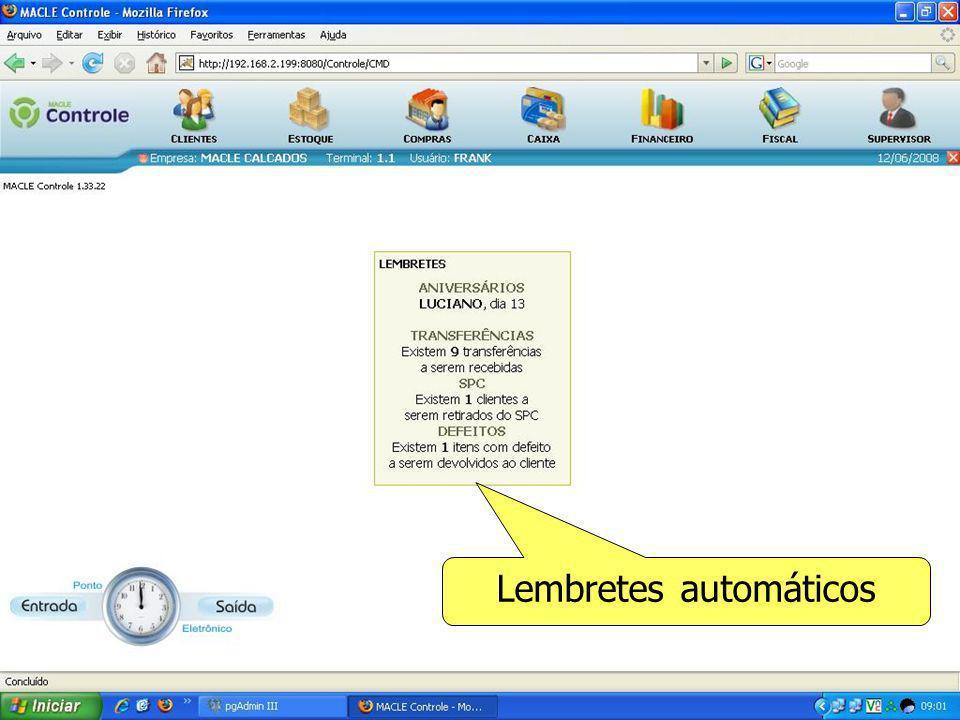 Tela de Venda, com fotos de itens e clientes filtros automáticos nas buscas das informações