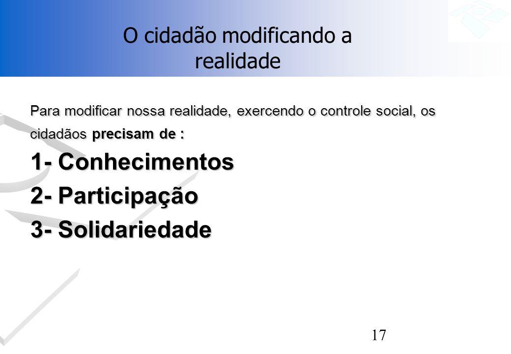 17 Para modificar nossa realidade, exercendo o controle social, os cidadãos precisam de : 1- Conhecimentos 2- Participação 3- Solidariedade O cidadão