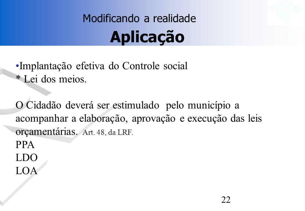 22 Aplicação Implantação efetiva do Controle social * Lei dos meios. O Cidadão deverá ser estimulado pelo município a acompanhar a elaboração, aprovaç
