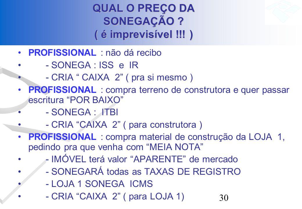 30 QUAL O PREÇO DA SONEGAÇÃO ? ( é imprevisível !!! ) PROFISSIONAL : não dá recibo - SONEGA : ISS e IR - CRIA CAIXA 2 ( pra si mesmo ) PROFISSIONAL :