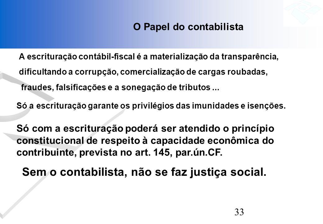 33 O Papel do contabilista A escrituração contábil-fiscal é a materialização da transparência, dificultando a corrupção, comercialização de cargas rou